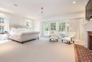 Traditional Master Bedroom with Pendant light, Carpet, French doors, Wainscotting, Crown molding