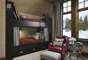 Eclectic Kids Bedroom with Standard height, Carpet, Built-in bookshelf, Casement, Bunk beds, Aquarius apex end table