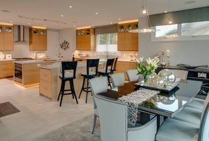 Contemporary Kitchen with European Cabinets, Metallic Lace Runner by Sandy Chilewich for Chilewich, L-shaped, Pendant light