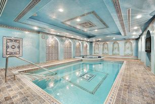 Mediterranean Swimming Pool with Pool with hot tub, Indoor pool, exterior stone floors