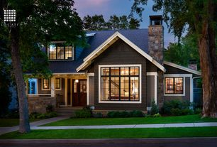Craftsman Exterior of Home with Paint, Wood shingle siding