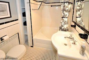 Traditional Full Bathroom with Full Bath, shower bath combo, tiled wall showerbath, drop in bathtub, Bathtub, Undermount sink