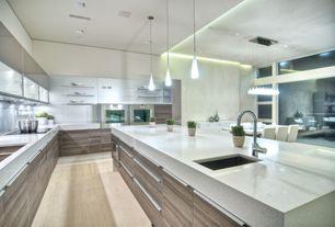 Contemporary Kitchen with Pental quartz seashell bq400, Breakfast nook, European Cabinets, Pendant light, Undermount sink