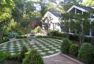 Eclectic Landscape/Yard with Fence, Casement, exterior brick floors, Raised beds, picture window, Fountain, Pathway