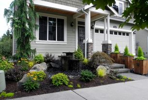 Traditional Landscape/Yard with Blue Weeping Cedar of Lebanon, Pathway, exterior stone floors, Glass panel door, Fountain
