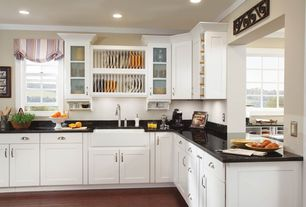 Country Kitchen with L-shaped, Stonemark Granite Absolute Black Granite Countertop, Flat panel cabinets, Glass panel, Flush