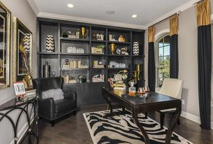 Eclectic Home Office with Hardwood floors, Sunpan Lucille Dining Chair, Arched window, IMAX Chevron Vase, Crown molding