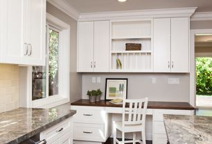 Traditional Home Office with can lights, Flat panel cabinets, Large Ceramic Tile, Kitchen island, full backsplash, L-shaped