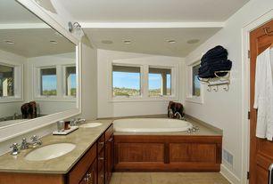 Craftsman Master Bathroom with European Cabinets, Undermount sink, Flush, Double sink, Limestone counters, Master bathroom