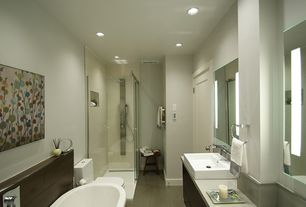 Contemporary Full Bathroom with Handheld showerhead, partial backsplash, Bamboo floors, Double sink, Simple marble counters