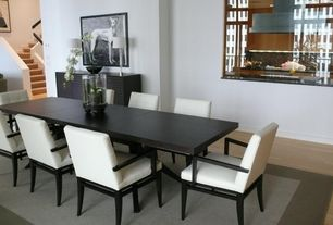 Modern Dining Room with Crate&Barrel Facet Extension Dining Table, Nichols and Stone Dining Room Carmel Arm Chair