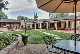 Mediterranean Landscape/Yard with French doors, Stepping pavers, Gazebo, Pathway, Trellis, Raised beds, Outdoor kitchen