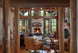 Rustic Living Room with Hardwood floors, French doors, BRADINGTON AND YOUNG - BATES STATIONARY CHAIR 8-WAY TIE | 568-25