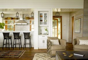 Cottage Great Room with Saratoga hickory 7 mm thick x 7-2/3 in. wide x 50-5/8 in. length laminate flooring, Built in wet bar