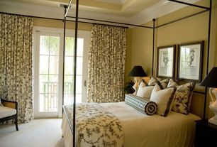 Traditional Guest Bedroom with High ceiling, Crown molding, French doors, Carpet