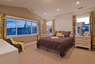 Cottage Guest Bedroom with Carpet, double-hung window, Standard height, can lights, picture window
