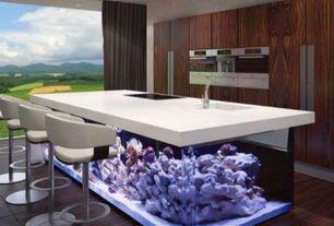 Contemporary Kitchen with Kitchen island, Breakfast bar, Barstool - white, Destiny: slab cabinets, Hardwood floors, One-wall