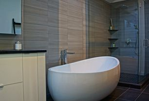 Modern Master Bathroom with Glazed porcelain floor and wall tile, Solid surface countertop