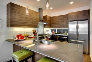 Modern Kitchen with Valencia Square Leather Counter Stool, KitchenCraft Soho Horizontal Cabinet Door Style