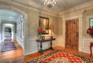 Traditional Entryway with Oak - Butterscotch 5 in. Solid Hardwood Wide Plank, Wainscotting, Crown molding, Hardwood floors