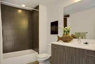 Contemporary Full Bathroom with European Cabinets, shower bath combo, Kitchen Craft, Summit Cabinet Door Style, can lights
