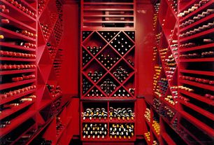 Contemporary Wine Cellar with Crown molding, Hardwood floors