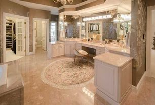 Traditional Master Bathroom with Flush, Home Dynamix Rome Round White Woven Area Rug, specialty door, Chandelier, Limestone