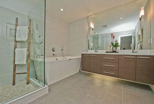 Contemporary Master Bathroom with frameless showerdoor, Flush, Freestanding, Rain shower, Master bathroom, European Cabinets