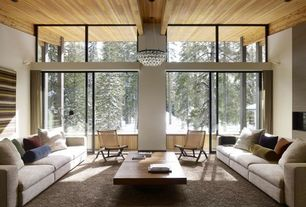 Contemporary Living Room with Wall sconce, Carpet, Exposed beam