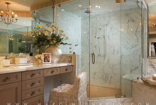 Traditional Master Bathroom with Crown molding, Kitchen Craft, Chatham Cabinet Door Style, frameless showerdoor, Chandelier