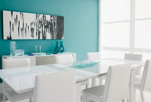 Contemporary Dining Room with Hardwood floors, picture window, Standard height