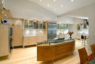 Modern Kitchen with European Cabinets, U-shaped, Kitchen island, Simple granite counters, Glass panel, Flush, Undermount sink