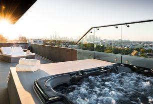 Contemporary Hot Tub with Pathway, exterior awning