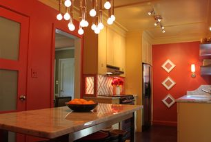 Contemporary Kitchen with Paint 1, specialty door, Pendant light, Standard height, Undermount sink, Complex marble counters