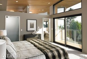 Contemporary Master Bedroom with Carpet, Built-in bookshelf