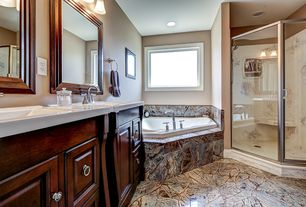 Traditional Master Bathroom with Master bathroom, Raised panel, Inset cabinets, Double sink, Handheld showerhead