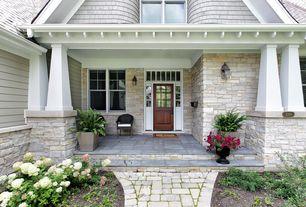 Traditional Front Door with Transom window, exterior stone floors, Glass panel door, Pathway