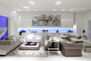 Contemporary Living Room with simple marble floors