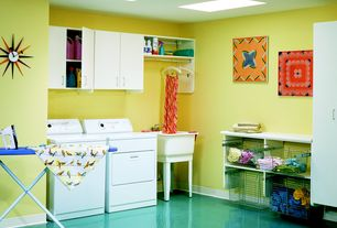 Contemporary Laundry Room with Built-in bookshelf, Skylight, Swanstone white composite laundry sink, Undermount sink
