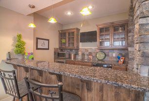 Rustic Bar with Pendant light, Interior stone wall, Galley, Natural stone slate backsplash, Slate Tile, Natural stone collumn