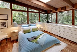 Modern Master Bedroom with Exposed beam, Skylight, picture window, Standard height, Hardwood floors, Built-in bookshelf