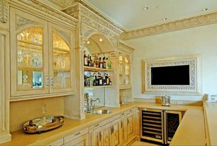 Traditional Bar with Standard height, Carpet, Built-in bookshelf, can lights