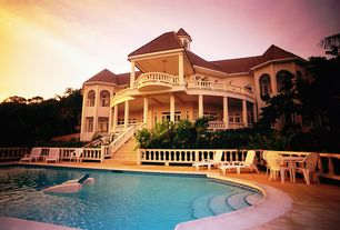 Mediterranean Swimming Pool with exterior stone floors, Pathway, Arched window, Transom window, French doors