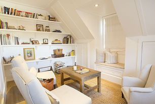 Traditional Attic with Window seat, Built-in bookshelf, Abacasa Atlas Ivory Area Rug, Hardwood floors, Paint 1, can lights