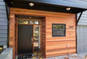 Contemporary Front Door with double-hung window