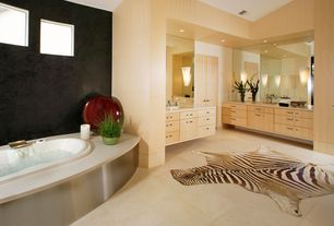 Contemporary Master Bathroom with drop in bathtub, can lights, wall-mounted above mirror bathroom light, Master bathroom