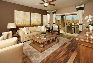 Traditional Living Room with Hardwood floors, Ceiling fan