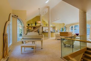 Contemporary Great Room with Transom window, can lights, Carpet, High ceiling, Pendant light, French doors, Arched window