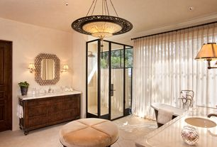 Traditional Master Bathroom with Complex Marble, Chandelier, Master bathroom, Rain shower, French doors, Freestanding
