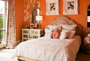 Eclectic Master Bedroom with Crown molding, Standard height, interior wallpaper, Carpet, specialty window, Built-in bookshelf